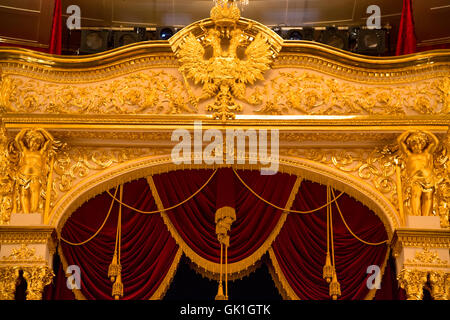 View of central balcony in the Bolshoi Theatre a historic theatre of ballet and opera in Moscow - Stock Photo
