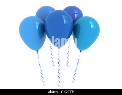 blue isolated balloons - Stock Photo