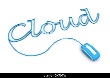 blue cloud word - Stock Photo