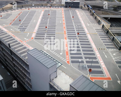 An aerial view of an empty car park roof top in East London, UK. - Stock Photo