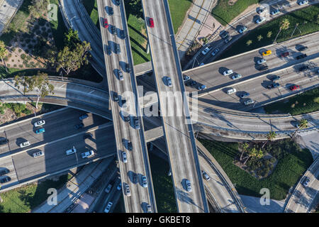 Afternoon aerial view downtown four level interchange of the Harbor, Pasadena and Hollywood Freeways. - Stock Photo
