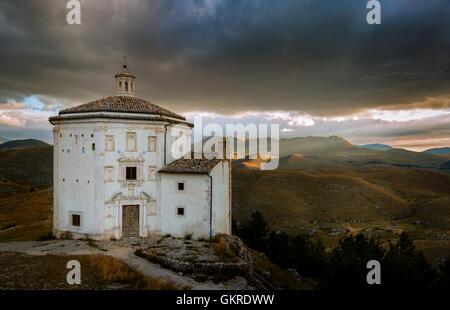 Santa Maria della Pietà, Rocca Calascio, Gran Sasso, Abruzzo, Italy - Stock Photo