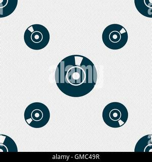 CD or DVD icon sign. Seamless pattern with geometric texture. Vector - Stock Photo
