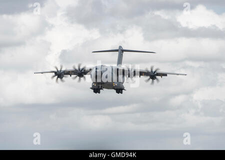 Airbus A400M Atlas Military Transport Airplane on final approach to land at RAF Fairford in Gloucestershire at the - Stock Photo
