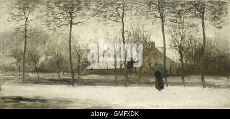 Winter landscape, by Willem Maris, c. 1875, Dutch painting, oil on canvas. Impressionistic landscape with woman - Stockfoto