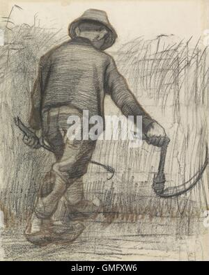 Wheat Mower with Hat, Seen from Behind, by Vincent van Gogh, c. 1870-90, Dutch drawing, chalk and pencil on paper. - Stockfoto
