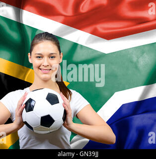 Proud woman football fan of South Africa - Stockfoto