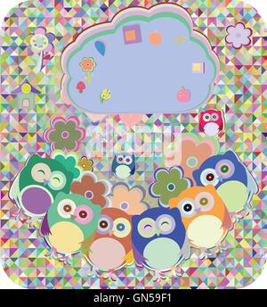 owls, birds, flowers, cloud and love heart, vector illustration - Stock Photo
