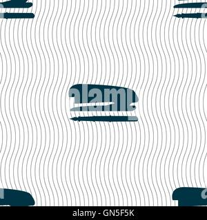 Stapler and pen icon sign. Seamless pattern with geometric texture. Vector - Stock Photo