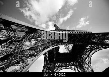 Eiffel Tower from the bottom. Paris, France - Stock Photo