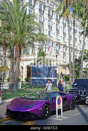 Lamborghini car before Carlton hotel Cannes France - Stock Photo