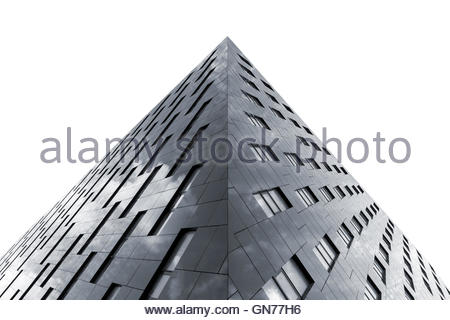 Bottom view of modern office building isolated on white background - Stock Photo