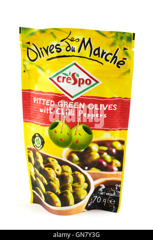Crespo Pitted Green Olives With Chilli Peppers - Stockfoto