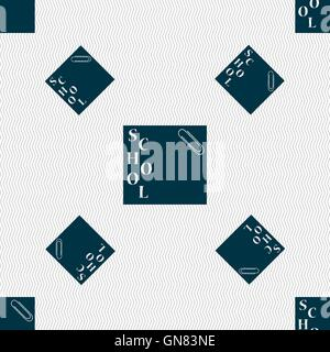 reminder sticker, note icon sign. Seamless pattern with geometric texture. Vector - Stockfoto