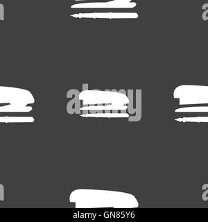 Stapler and pen icon sign. Seamless pattern on a gray background. Vector - Stock Photo