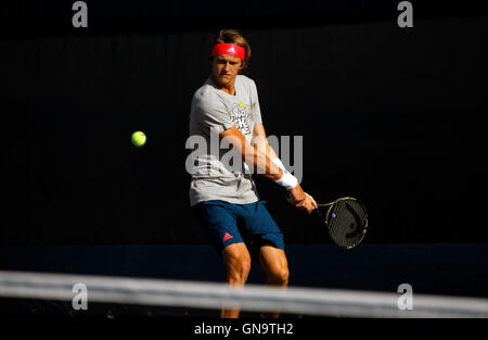 New York, United States. 28th Aug, 2016. 19 year old Alexander Zverev of Germany during a practice session Sunday, - Stock Photo