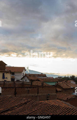 Cusco, Peru - May 12 : View from a hotel room at the rooftop and buildings in the city of Cuzco. May 12 2016, Cusco - Stock Photo