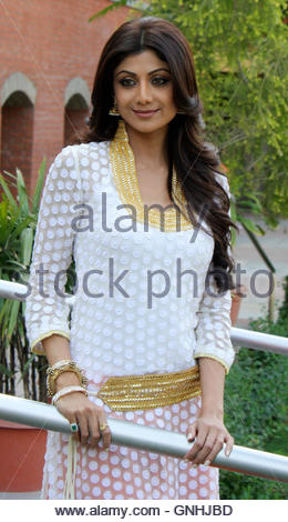 Bollywood actress Shilpa Shetty poses for photographers during a news conference for her movie The Desire, in the - Stock Photo