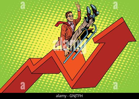 Businessman on a sled, up arrow chart sales - Stock Photo