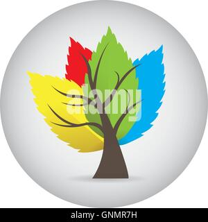 Isolated sticker with an abstract tree with colored leaves on a white background - Stock Photo