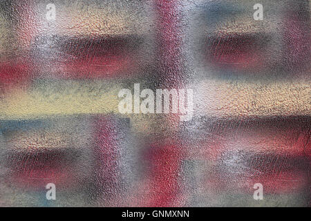 Abstract style wall surface artistically painted in colors of red turquoise, white and yellow brown. Beautiful & - Stock Photo