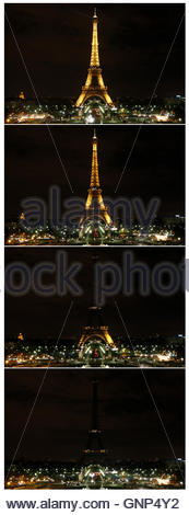 A combination of four pictures shows a view of the Eiffel Tower before and during (top-bottom) Earth Hour in Paris - Stock Photo