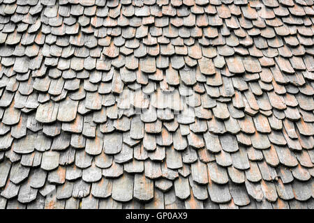Perspective old roof pattern, tiles on old roof, architecture background. - Stock Photo