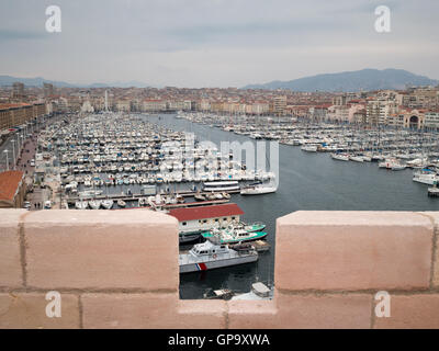 View of the vieux port of marseille from an arcade above - Parking vieux port fort saint jean marseille ...