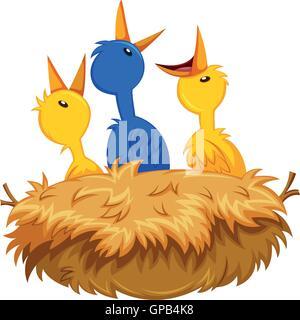 Three little birds in the nest illustration - Stock Photo