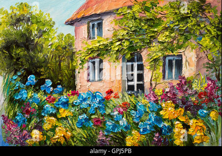 oil painting landscape, house in the flower garden, abstract  impressionism - Stock Photo
