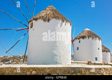 traditional Greek windmills Mykonos Greece - Stock Photo