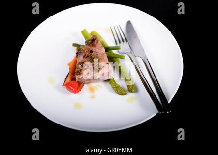 Tuna and asparagus salad - Stock Photo
