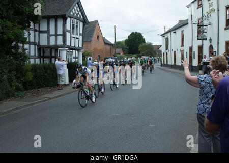 Cheshire, UK. 6th September, 2016. Peloton early in the race, passing through Church Minshull in the Cheshire plain. - Stock Photo