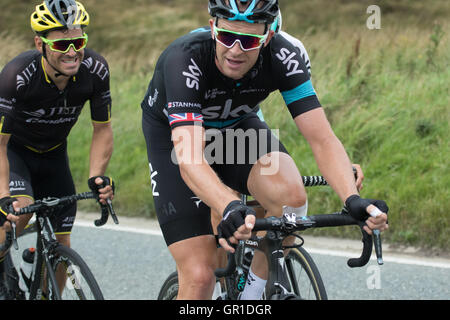 Cheshire, UK. 6th September, 2016. The eventual winner Ian Stannard, during the climb to the Cat and Fiddle. Credit: - Stock Photo