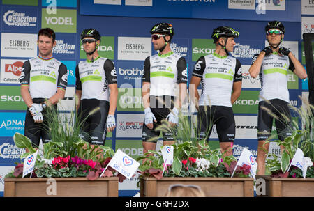 Congleton, UK - 6th September, 2016: Stage 3 of the Tour of Britain Cycle Race 2016. The competing teams arrive - Stock Photo