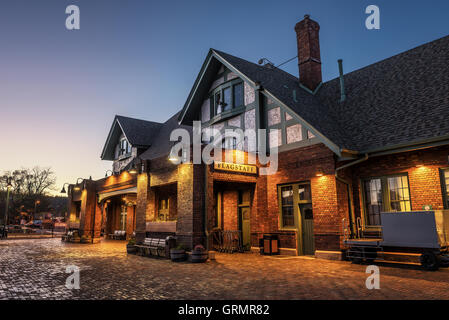 Historic train station in Flagstaff at sunset located on Route 66 - Stock Photo