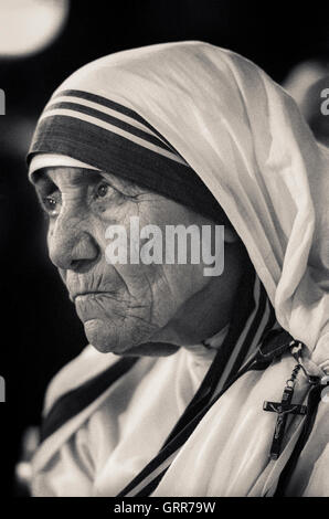 Portrait of Mother Teresa, Saint Teresa of Calcutta - Stock Photo