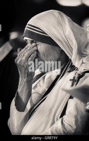 Portrait of Mother Teresa, Saint Teresa of Calcutta - Stockfoto
