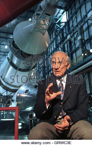 Apollo astronaut Buzz Aldrin speaks about the launch of Apollo 11 on the 30th anniversary of the event at the Kennedy - Stock Photo