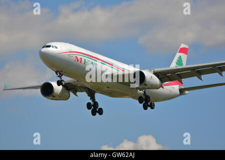 A Middle East Airlines A330-243 OD-MEA landing at Heathrow Airport, London, UK - Stock Photo