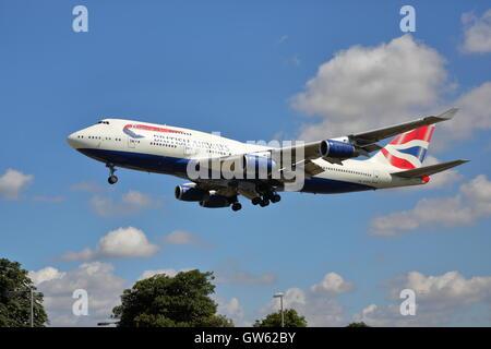 British Airways Boeing 747-400 G-CIVN on final approach at London Heathrow Airport, UK - Stock Photo