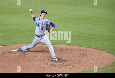 Miami, Florida, USA. 11th Sep, 2016. Kenta Maeda (Dodgers) MLB : Kenta Maeda of the Los Angeles Dodgers pitches - Stock Photo