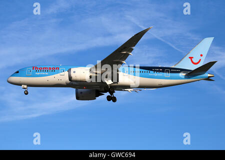 Thomson Airways Boeing 787-8 approaches  runway 23R at Manchester airport. - Stock Photo