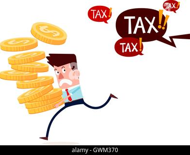 young successful businessman carry stack of gold coins running away from paying taxes - Stock Photo