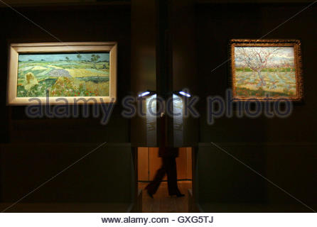 A visitor walks past paintings of Vincent Van Gogh at Budapest's Museum of Fine Arts December 1, 2006. The exhibition, - Stockfoto