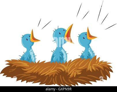 Three baby birds in nest illustration - Stock Photo