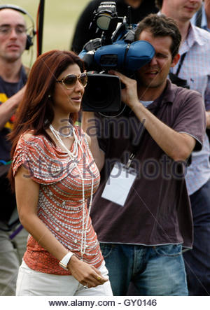 Actress Shilpa Shetty attends an International Indian Film Academy celebrity cricket match in Leeds, northern England, - Stock Photo