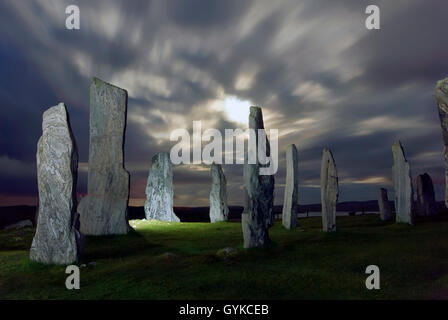 Callanish Stone Circle at night during full moon Isle of Lewis Outer Hebrides Western Isles Scotland UK GB Europe - Stock Photo