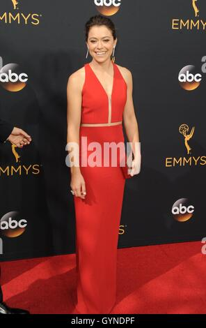 Los Angeles, CA, USA. 18th Sep, 2016. Tatiana Maslany at arrivals for The 68th Annual Primetime Emmy Awards 2016 - Stock Photo