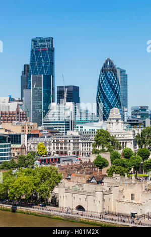 England, London, City Skyline and Thames River from Tower Bridge - Stock Photo